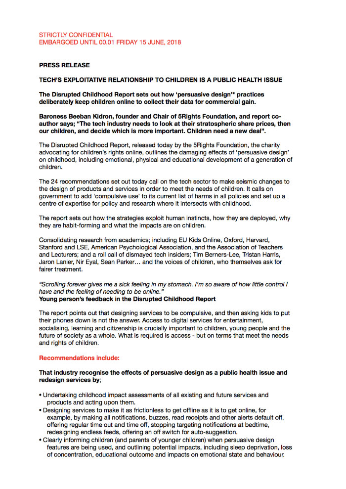 Disrupted Childhood Report Press Release