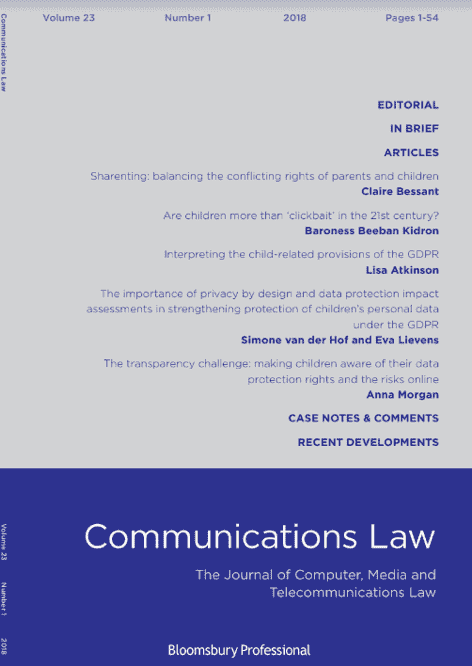Communications Law Journal: Are Children More Than 'Clickbait' in the 21st Century?