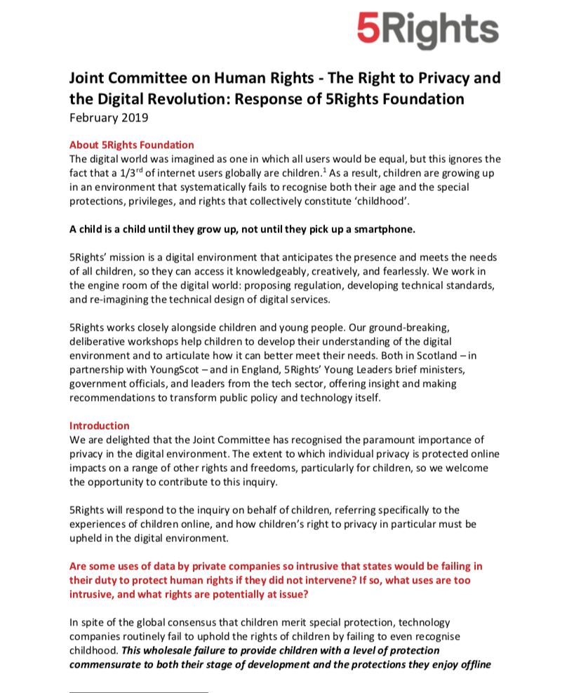 Response to the Joint Committee on Human Rights: The Right to Privacy and the Digital Revolution